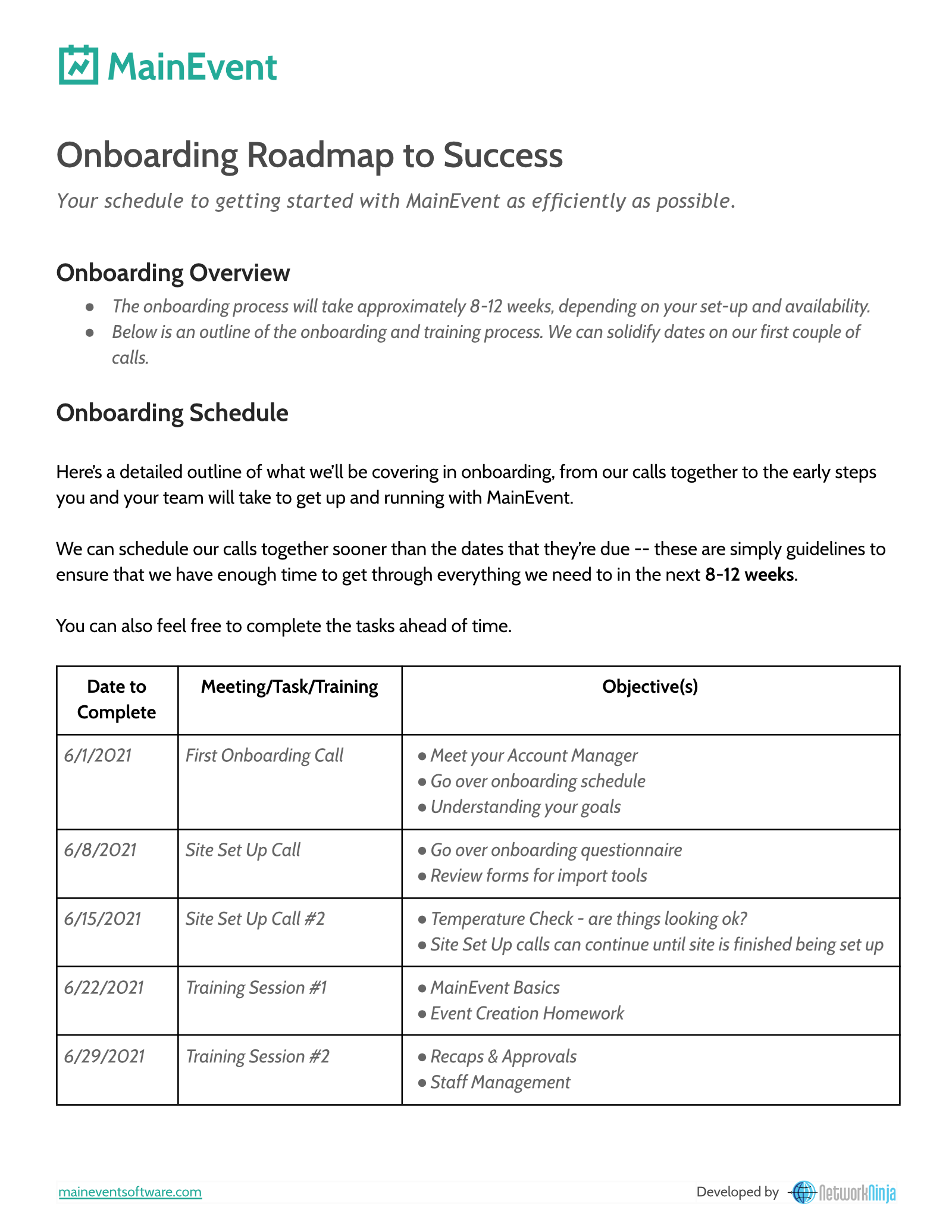 Screenshot showing MainEvent's Onboarding Roadmap document.